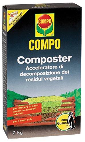COMPO ITALIA COMPO COMPOSTER KG. 2 acceleratore di decomposizione dei residui vegetali. In 6 - 8 settimane determina una ottimale decomposizione dei residui. Confezione da 2 kg PZ