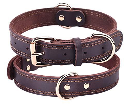 SLZZ Hundehalsband aus Leder - Geeignet für mittelgroße Hunde mit Einer Halslänge von 40 cm bis 50 cm