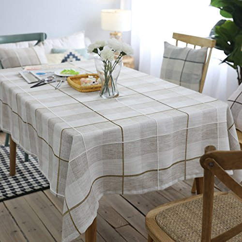 WEN-Nappes Moderne Coton et Lin Table à Manger Nappe Simple Plaid Table Basse Couverture Maison Carré Table Décoration Tissu (Couleur : Light coffee, taille : 130 * 180cm)