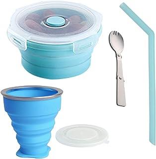 SENDILI 200ml Portátil Vaso Plegable - Vaso de Agua de Silicona Plegable Retráctil y 350ml Cuenco Plegable de Silicona Portátil