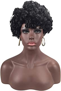 Nishore High-temperature Synthetic Fiber Small Curly Matte Wigs for The Light Curve Natural Frizz Afro Hair