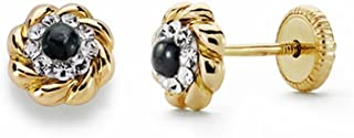 18K Gold Flower Earrings 5mm. Sapphire Zircons [Aa2116]