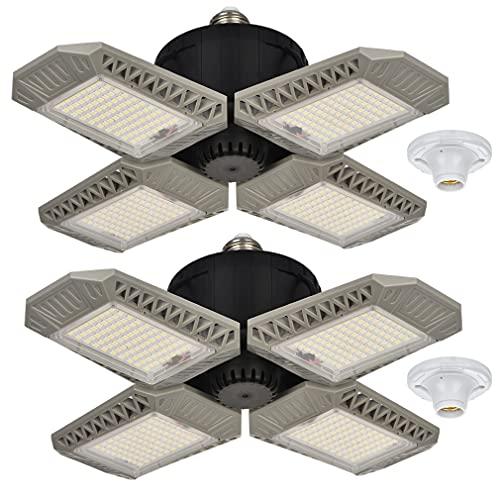 2 Pack LED Garage Lights, 100W Deformable LED Garage Ceiling Lights with 4 Adjustable Panels, 10000LM E26 LED Shop Lights for Garage, Basement, Barn, High Bay Light (White, 2 Pack)