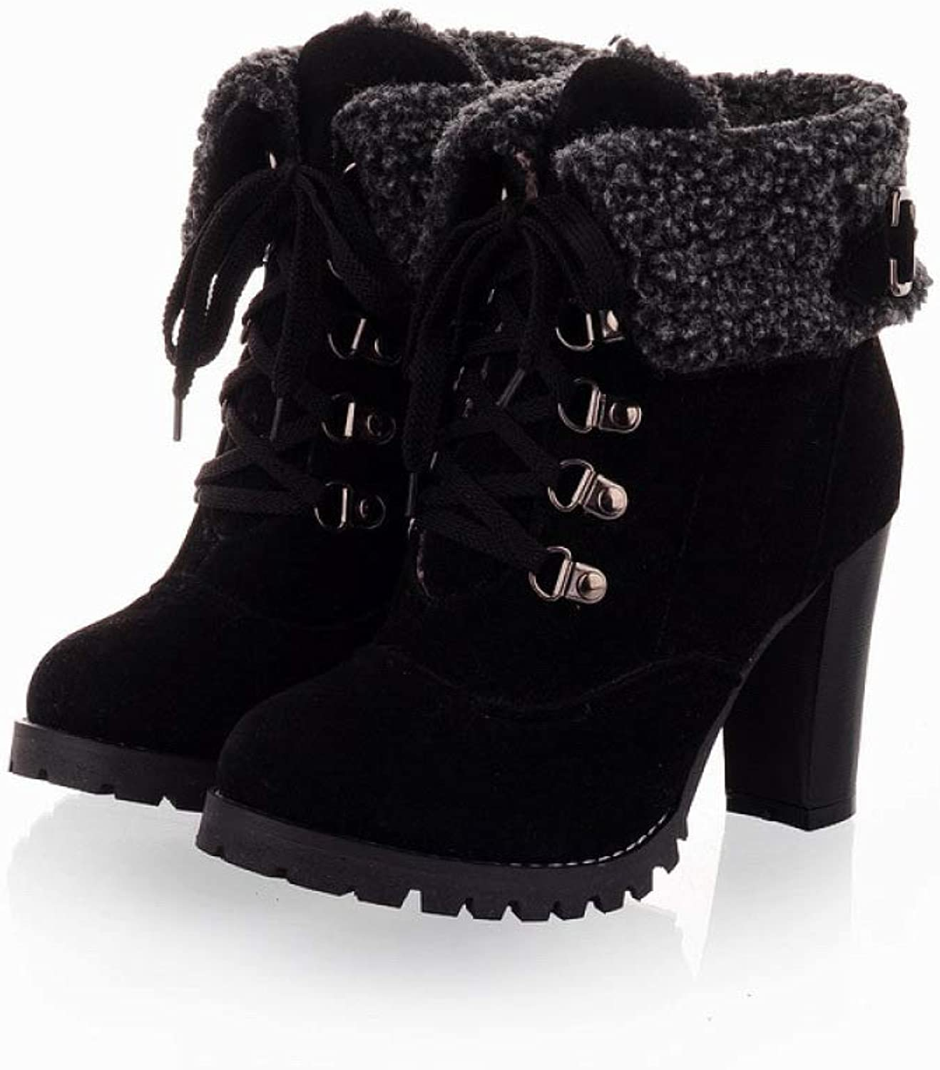 Women's Martin Boots, High-Heeled Matte Suede Ankle Boots, Large Size Lace Up Snow shoes,Black-CN39