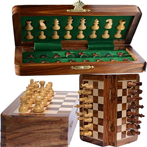 "ChessBazar 12x12"" Chess Set Chess Set with Bag - Folding Standard Magnetic Travel Chess Board Game Handmade in Fine Rosewood with Storage for Chessmen"