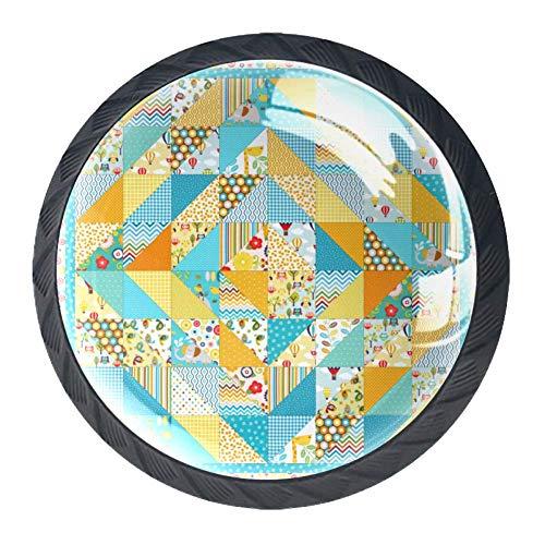 Runder Schubladengriff Blumen Geometrisches Kristallglas Kommode Schrankknöpfe Zieht mit Schrauben für Wohnküche Kleiderschrank Schrank Schrank 4 Stück