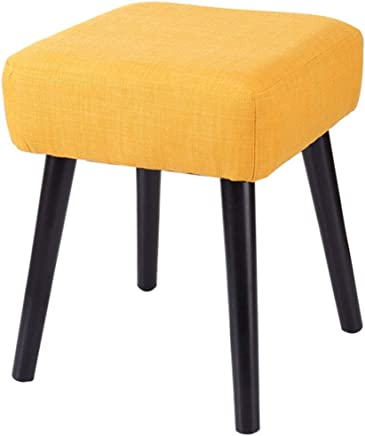 BYPING-pouffes and Stool Upholstered Footstools Solid Wood Bedroom Change Shoes Fashion Thick Cotton Pad  Colors  color Yellow  Size 32x32x40CM