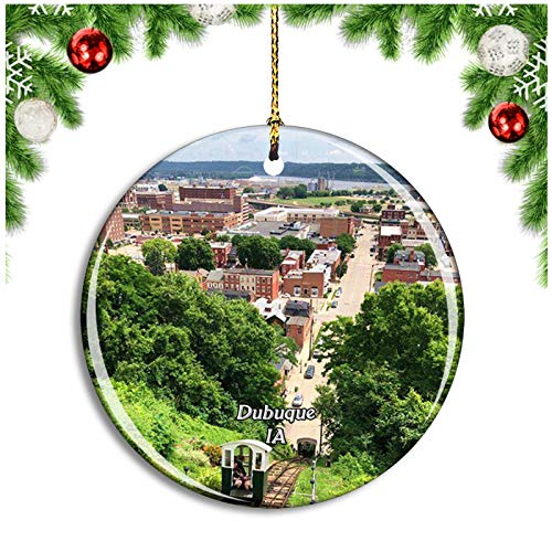 Weekino Dubuque Fenelon Place Iowa USA Christmas Ornament Xmas Tree Decoration Hanging Pendant Travel Souvenir Collection Double Sided Porcelain 2.85 Inch