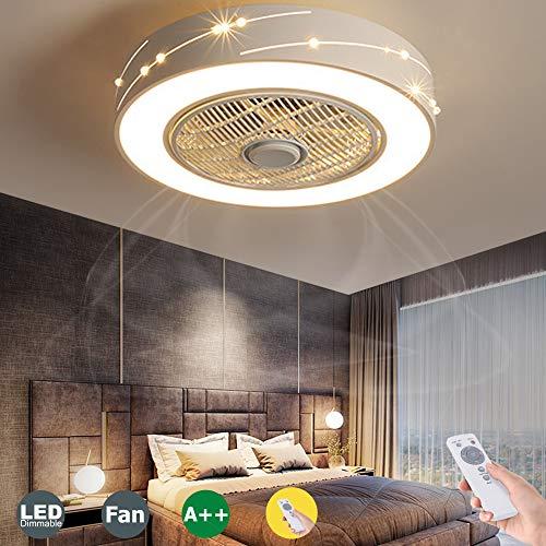 LED Fan Deckenventilator Moderne LED Fan Deckenleuchte Mit Fernbedienung Leise Unsichtbares Fan Licht Schlafzimmer Lampe Wohnzimmer Kindergarten Kinderzimmer Ventilator Deckenlampe Beleuchtung,Weiß