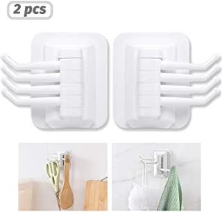 ACPOP Adhesive Hooks,Heavy Duty Wall Hooks,Razor Holder for Shower,No Drill Needed and Waterproof Wall Hangers for Keys, Towel, Coat, Bags, Home, Kitchen, Bathroom,2 Pack,White