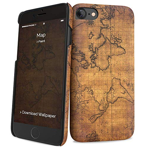 i-Paint Cover Hard Case per iPhone 8/7/SE 2020, Modello Map
