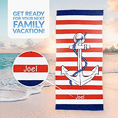 Kaufman - Personalized Beach Towels for Kids, 100% Absorbent Cotton, 30'' x 60'', Custom Embroidered Name