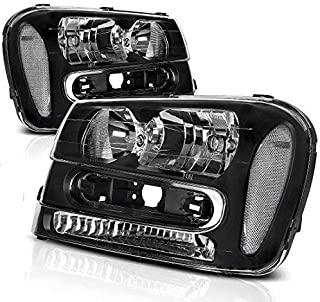 Headlight Assembly for 2002-2009 Chevy Chevrolet Trailblazer Replacement Black Housing Headlamp (Except for 2006-2009 LT models, Pair)