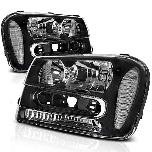 AUTOSAVER88 Headlight Assembly Compatible with 2002-2009 Trailblazer Replacement Black Housing Headlamp (Except Compatible with 2006-2009 LT models, Pair)