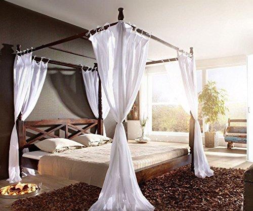 Wolf Möbel Doppelbett Bombay Sheesham 180x200 Kolonialstil Himmelbett