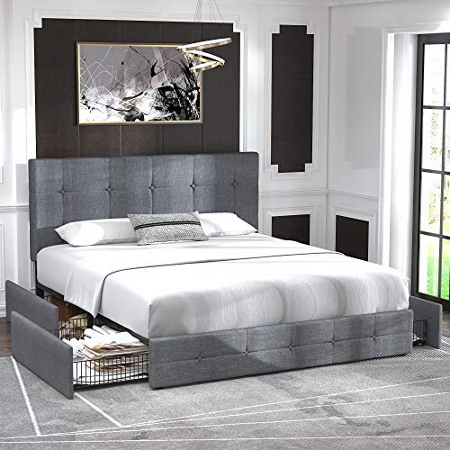 Allewie Queen Platform Bed Frame with 4 Drawers and Headboard/Square Stitched Button Tufted Upholstered Mattress Foundation with Storage, Light Grey