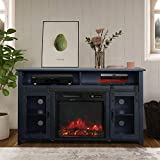 ENSTVER TV Stand for TVs up to 55' with Electric Fireplace Included,Media Storage Television Console for Living Room (Black)