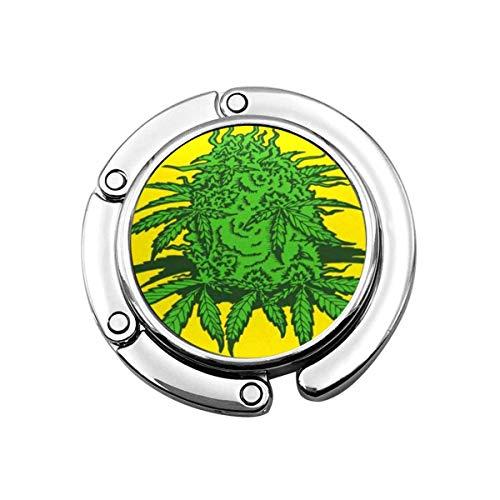 Gancho Plegable para Bolso, Gancho para Bolso, Hojas de Plantas de Cannabis y Hojas y brotes de Marihuana para Cultivar Drogas