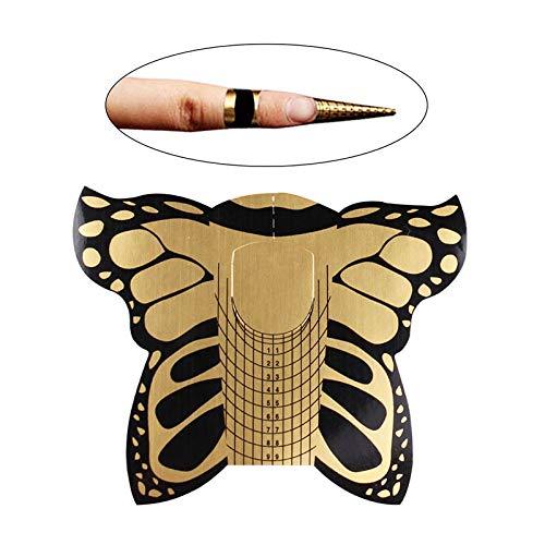 500 pcs Moldes para Uñas Gel y Acrilico, Autoadhesivo Pegatinas Formas para la Guía de Extensión (Mariposa)