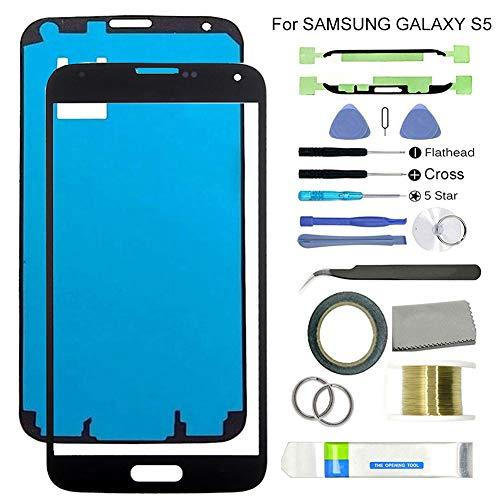 Ersatzdisplay für Samsung Galaxy S5 G900, mit Displayreparatur-Set für beschädigte, rissige und zerbrochene Handys Schwarz