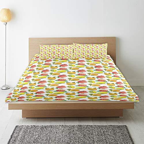 SUHOM Bettwäsche-Set,Vitamin C-Muster der orange Granatapfel-Saisonzitrone,1 Bettbezug 240x260 + 2 Kopfkissenbezug