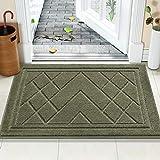 Color&Geometry Felpudo Entrada Casa Alfombra para Puertal Felpudos Atrapar Suciedad Interior y Exterior Alfombras Lavable Absorbente 50 x 80 cm, Verde