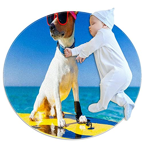 Alfombra suave redonda 100x100cm/39.4x39.4IN Alfombrillas circulares antideslizantes para el suelo Alfombrilla para pie de esponja absorbente,Perro surfeando en una tabla de surf con gafas de sol