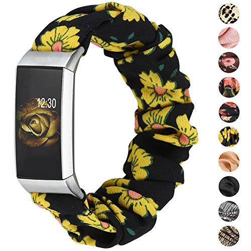 TOYOUTHS Compatible with Fitbit Charge 3/Charge 4 Bands Scrunchie Women Girl Soft Elastic Cloth Fabric Strap Pattern Printed Bracelet Sport Replacement Wristband Accessories(Sunflower, Large)