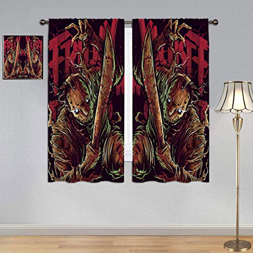 ARYAGO Black Out Cortinas Friday The 13th Cortinas de tela para ventana de dormitorio infantil de 137 x 1177 cm