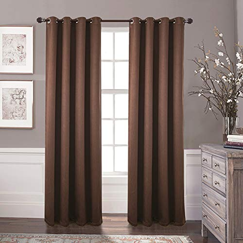 N\C ray blackout curtains, heat insulation, living room, bedroom (Brown, W55*L87 (140 * 220 CM))