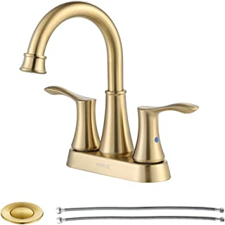PARLOS 2-handle Bathroom Faucet Brushed Gold with Pop-up Drain & Supply Lines, Demeter 1362708