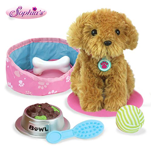 Sophia's Pets for 18' Dolls, Plush Puppy Dog Play Set, Perfect Doll Toy for 18' Dolls | 9Piece Golden Dog, Bed, Food & Accessories