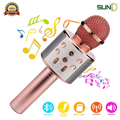 SUNY Wireless Bluetooth Karaoke Microphone, Portable Handheld Speaker Machine Music Player w/Record Function for Android & iOS Devices(Rose Gold)