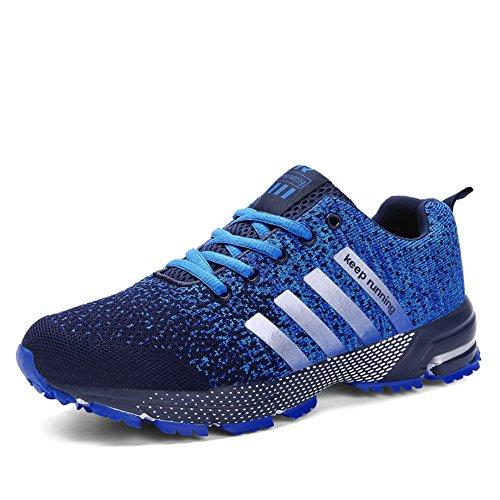 Sollomensi Zapatos para Correr en Montaña y Asfalto Aire Libre y Deportes Zapatillas de Running Padel para Hombre Azul 40