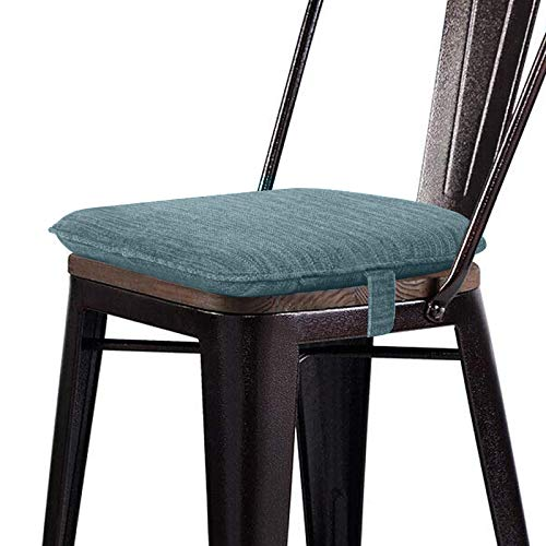 baibu NonSlip 14*14 Inch Chair Cushions Metal Dining Chair Pads Bar Stool Cushion with Ties for Metal Chairs or Bar Stools -Blue