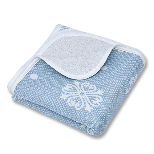 Organic Cotton Patterned Baby Crib Blanket for All Seasons - Warm, Breathable, Super Soft, Thick and Light Weight Quilted Toddler Blanket for Boys and Girls 39''x47'' Large - Blue Snow