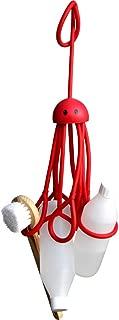 Formverkert Octopus Shower Caddy (in Red) - Shower Gel Shampoo Conditioner Brush Razors Toys Accessories Holder, 9 Slots, Fits All Sized Bottles, Stylish Fun Bath Shower Organizer, Designed in Sweden