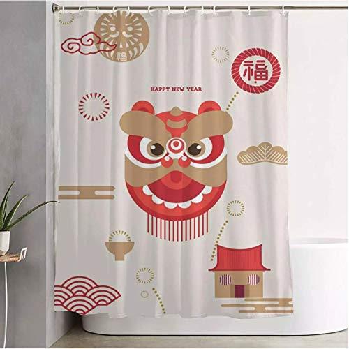 Cortina de ducha para cuarto de baño verde cereza cerveza año chino flor rojo gráfico Japón patrón feliz primavera