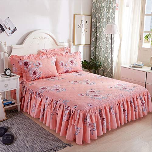 DUJUN Bettwäsche Bett Rock Bilaterale Polyester Baumwolle weiche bettrock rüschen Bequem warm weich Feuchtigkeitsbeständige, Bedruckte Bettdecke, Blumenblätter A10 180X200cm