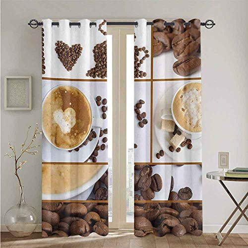 Kitchen Best Home Fashion Thermal Insulated Blackout Curtains Coffee Themed Collage of Beans Mugs Hot Foamy Drink with a Heart Macro Aroma Photo Indoor Darkening Curtains W84 x L96 Brown White