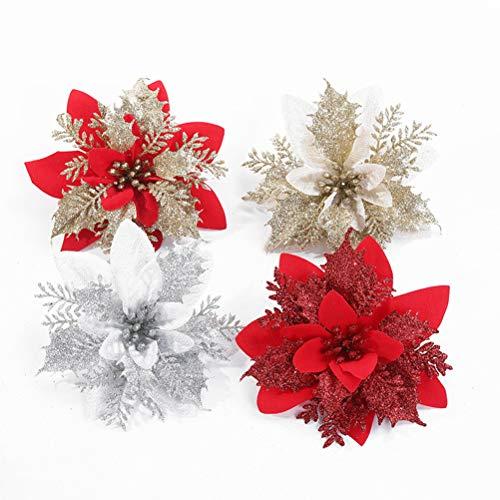 Bonwuno Poinsettia Christmas Decorations, 4Pcs Glitter Artificial Poinsettia Flowers Christmas Tree Ornaments