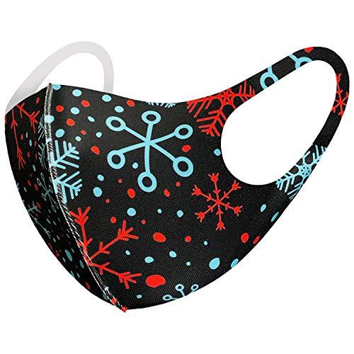 Christmas Themed Unisex Face_Mask Bandana Neck Gaiter Fashion Cloth Fabric Face Protection, Unisex Earloop Black Dust Reusable Washable (Pack of 1 Adult M70)
