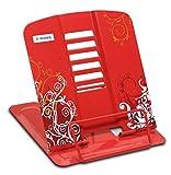 HERMA 19036 Leseständer aus Metall (19 x 15,3 x 2,7 cm zusammengeklappt) 6 Stufen verstellbar, rutschfest, Buchständer für Schule, Küche und Büro, Buchhalter für Kinder, rot