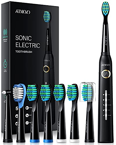 ATMOKO Electric Toothbrush with 8 Duponts Brush Heads, 5 Modes, 4 Hour...