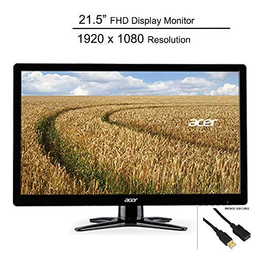 Acer 21.5' Full HD LED Display Monitor_ 1920 x 1080 Resolution_ 60Hz Refresh Rate_ 5 ms Response Time_ 16:9 Aspect Ratio_ 200 cd/m² Brightness_ DVI_ VGA_ Black_ BROAGE USB Cable 6ft