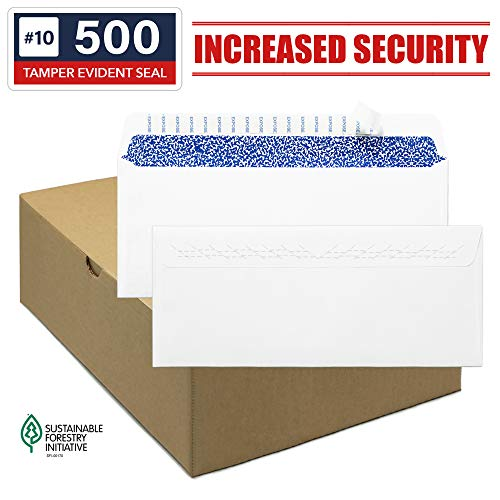 Envelopes Self Seal - Security Envelopes #10 - Standard Size Business Envelopes 4-1/8 x 9-1/2 Inch, 500 count, No Window, Blank White Envelopes, Quality 24 lb paper