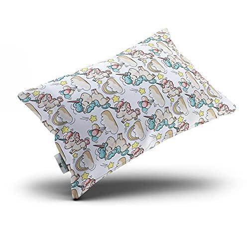 NATURECA Cuscino per bambini 40 x 60 cm con federa in cotone, cuscino per bambini per dormire – lavabile e traspirante, cuscino per bambini in fibra cava di poliestere siliconata