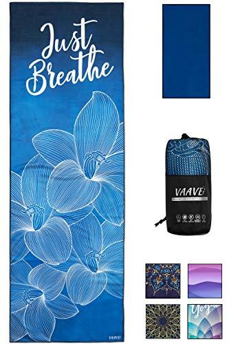 VAAVEi Non Slip Yoga Towel, Hand Towel, Bag Set; Corner Pockets, Yoga Mat Sized, Perfect for Yoga, Hot Yoga, Bikram Yoga, Quality Microfiber, Lightweight and Compact, 5 Designs, 2 Sizes