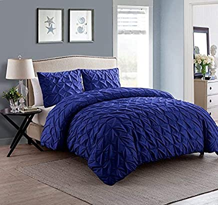 VCNY Home Madison Pintuck 6 Piece Bedding Comforter Set Twin XL Navy
