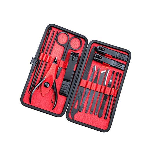 16pcs outils de manucure ensemble noir en acier inoxydable tondeuse à pédicure Remover coupe-ongles coupe-ongles pour la maison et Salon (rouge)